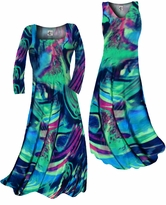 Customizable Teal Green and Purple Wild Print Slinky Plus Size & Supersize Standard or Cascading A-Line or Princess Cut Dresses & Shirts, Jackets, Pants, Palazzo's or Skirts Lg to 9x