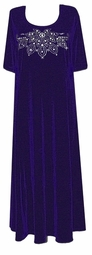 Customizable Purple & Silver Stretch Velvet Rhinestone Dresses or Shirts 0x 1x 2x 3x 4x 5x 6x 7x 8x