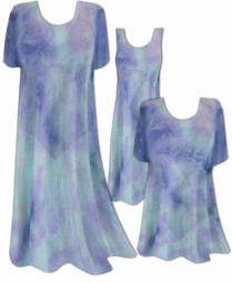 CLEARANCE! Semi-Sheer Blue Aqua Tiedye Print Ribbed Jersey Plus Size Coverup Tops Dresses / Swimsuit Coverups Overdress Plus Size & Supersize 4x 6x 8x