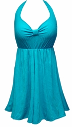 Customizable Teal With Lines Halter or Shoulder Strap 2pc Plus Size Swimsuit/SwimDress 0x 1x 2x 3x 4x 5x 6x 7x 8x 9x