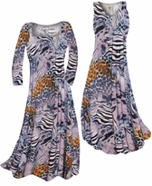 Customizable Lilac & Brown Multi Animal Skin Slinky Print Plus Size & Supersize Standard or Cascading A-Line or Princess Cut Dresses & Shirts, Jackets, Pants, Palazzo's or Skirts Lg to 9x