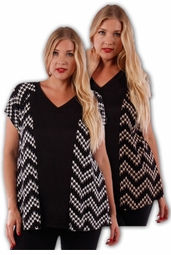 SALE! Cute Black and Tan V-Neck Print Plus Size Short Sleeve Rayon Tops 4x 5x