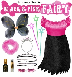 SALE! Economy Black & Pink Plus Size Fairy Costume & Accessories! Plus Size & SuperSize Halloween Costume XL 1x 2x 3x 4x 5x 6x 7x 8x 9x