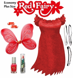 SALE! Economy Red & Black Fairy Plus Size & Supersize Halloween Costume and Accessory Kit! Lg to 9x