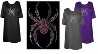 SALE! Awesome Black or Red Crystal Rhinestone Spider Plus Size T-Shirts  2xl
