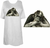 SALE! Black - Brown or Pink - The Thinker! Adorable Chimp Monkey Plus Size & Supersize T-Shirts lg  4x