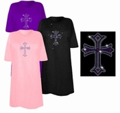 FINAL SALE! Colorful Purple Cross Sparkly Rhinestuds Plus Size & Supersize T-Shirts 4x