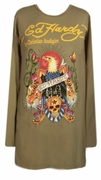 FINAL SALE! Just Reduced! Ed Hardy Army Green Eagle Plus Size Long Sleeve T-Shirts by Christian Audigier 3x 4x