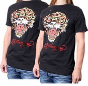 FINAL SALE! Just Reduced! Ed Hardy Black Ferocious Tiger And Add Silver Rhinestuds 2XL***