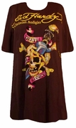 FINAL SALE! Just Reduced! Ed Hardy Brown Death & Glory Plus Size T-Shirts by Christian Audigier 2x