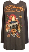 FINAL SALE! Just Reduced! Ed Hardy Charcoal Eagle Plus Size Long Sleeve T-Shirts by Christian Audigier 3x
