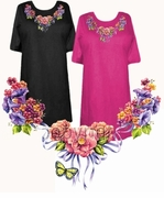 SOLD OUT! FINAL SALE! Floral Butterfly Neckline Plus Size & Supersize T-Shirts 5xl