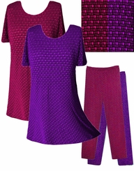 FINAL SALE! Fuschia or Purple Embossed Slinky Plus Size Tops & Pants XL
