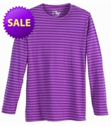 FINAL SALE! Just Reduced! Grape Striped Long Sleeve Round Neck T-Shirts Plus Size & Add Rhinestuds 5x