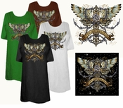 FINAL SALE! Love Conquers All Cross Wings Rose Tattoo Plus Size & Supersize T-Shirts 3x