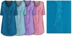 FINAL SALE! Lovely Pastel Ruffled V-Neckline Plus-Size Slinky Tops 4X 5X 8X