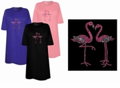 FINAL SALE! Pair of Pink Flamingos Sparkly Rhinestuds Plus Size & Supersize T-Shirts 4x
