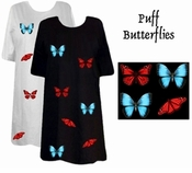 FINAL SALE! Puffy Blue & Red Butterflies Plus Size & Supersize T-Shirts 6x