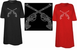 FINAL SALE! Sparkly Rhinestud Rhinestone Silver Guns Plus Size & Supersize T-Shirts M