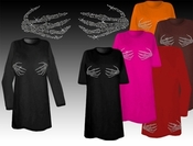 FINAL SALE! Sparkly Rhinestud Rhinestone Skeleton Hands Halloween Costume Plus Size & Supersize T-Shirts 3xl Supersixe 2x 4x