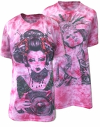 CLEARANCE! Fuschia Hot Pink Tie Dye Aztec Girl or Geisha Girl Rock Burnout Print Plus Size T-Shirt  XL 2XL
