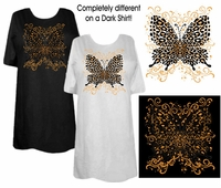 SALE! White Pink or Black Hot! Tattoo Prints!  Leopard Butterfly Plus Size T-Shirts 3xl 4x 8x