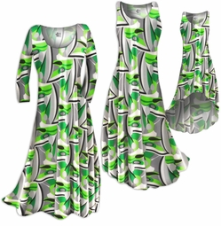 FINAL SALE! Green Gray & Black Geometric Slinky Print Plus Size & Supersize Pants 3x