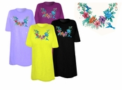 SALE! Just Reduced! Pretty Floral Hummingbird Neckline Plus Size & Supersize T-Shirts 3xl