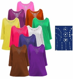 SALE! Solid Color Rhinestone Neckline Plus Size & Supersize T-Shirt Tops xl 1x 3x 4x 5x 6x