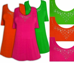 SALE! Just Reduced! Sparkly Orange - Green or Pink & Silver Rhinestone Neckline Plus Size Slinky Shirt