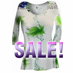 FINAL SALE! White & Green Floral Yummy Slinky Plus Size & Supersize A-Line Shirt 1x