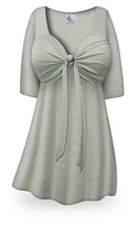 CLEARANCE! Gray with Silver Glimmer Tie Babydoll Shirt Plus Size & Supersize 1x 2x