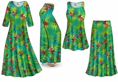 Green Orchid Slinky Print - Plus Size Slinky Dresses Shirts Jackets Pants Palazzo�s & Skirts - Sizes Lg to 9x