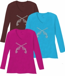 NEW! Sparkly Rhinestud Silver Guns V Neck Long Sleeve Plus Size Shirt 5x White Teal Raspberry Brown