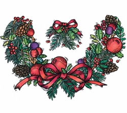 Holiday Decorative Holly Neck Wreath Plus Size & Supersize T-Shirts S M L XL 2x 3x 4x 5x 6x 7x 8x (All Colors)