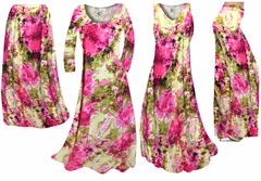 SOLD OUT!  Hot Pink & Olive Green Tie Dye Slinky Print - Plus Size Slinky Dresses Shirts Jackets Pants Palazzo�s & Skirts - Sizes Lg to 9x
