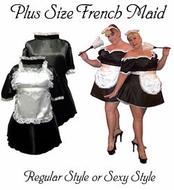 HOT! Plus Size French Maid Costume Uniform Sexy or Regular Black & White Plus Size & Supersize Halloween Costume! 0x 1x 2x 3x 4x 5x 6x 7x 8x 9x 10x With Feather Duster & Lace Headband