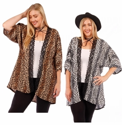 SALE! Lace Trimmed Animal Print Open Style Plus Size Slinky Cardigan Jacket 4x 5x 6x