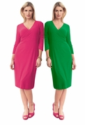 "SALE!  Kelly Green or Pink Fuchsia 3/4"" Sleeve Mid Length Slinky Plus Size Surplice V Neck Knit Dress 3x 4x"