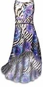 SALE! Sparkly Sequin Aurora Zebra Lightweight Black Purple Blue Animal Print Slinky Plus Size A Line Cascading Strapless Dress 3x