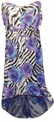 LAST ONE! SALE! Sparkly Sequin Lightweight Black Purple Blue Animal Print Slinky Plus Size A Line Cascading Strapless Dress 3x