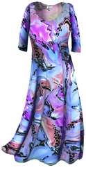 CLEARANCE! Lightweight Colorful Pink & Blue Marble Print Slinky Plus Size & Supersize Shirts XL 5x