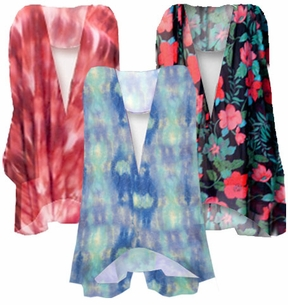 MANY COLORS! Beautiful Customizable Sheer Blouse Swimsuit Coverup! - Many Colors & Prints in Plus Size & Supersize 0x 1x 2x 3x 4x 5x 6x 7x 8x