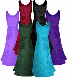 MANY COLORS! Crush Velvet Princess Cut Tank Plus Size Supersize Dresses 2x 3x 4x 5x 6x 8x