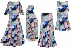 SOLD OUT!  Natural Dry Brush/Cobalt Blue and Light Mauve Slinky Print - Plus Size Slinky Dresses Shirts Jackets Pants Palazzo�s & Skirts - Sizes Lg to 9x