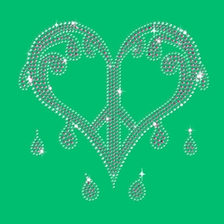 NEW! Sparkly Rhinestuds Pink & Silver Dripping Peace Heart on Shamrock Green Round Neck Plus Size T-Shirt 2x 3x 4x