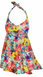 2-Piece Multicolor Painted Flowers Print Plus Size Halter SwimDress Swimwear or Shoulder Strap 2pc Swimsuit 0x 1x 3x