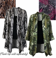 SALE! Animal Print in Black, Pink, Brown or Green! Lightweight Plus Size Stretchy Sweater Jackets 4x
