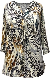 Sold Out! Animal Print Sweetheart V-Neck Plus Size Mid Sleeve Tunic Top 3x 4x