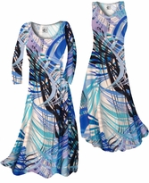 Customizable! Aqua Blue Tropical Brushstrokes Slinky Print Plus Size & Supersize Standard or Cascading A-Line or Princess Cut Dresses & Shirts, Jackets, Pants, Palazzo's or Skirts Lg to 9x